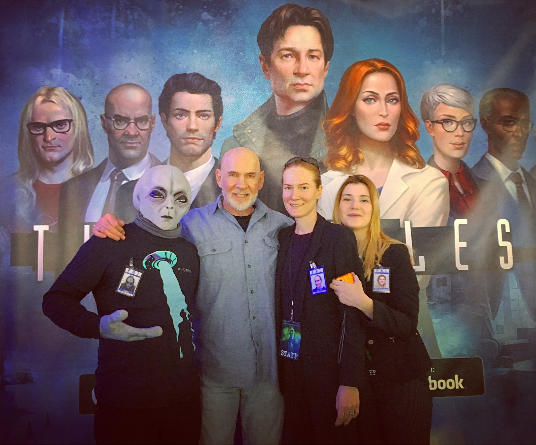 """Mitch Pileggi (the show's Assistant Director Walter Skinner) came wondering by – only to see his illustrated face staring back at him from 'The X-Files: Deep State' banner."""